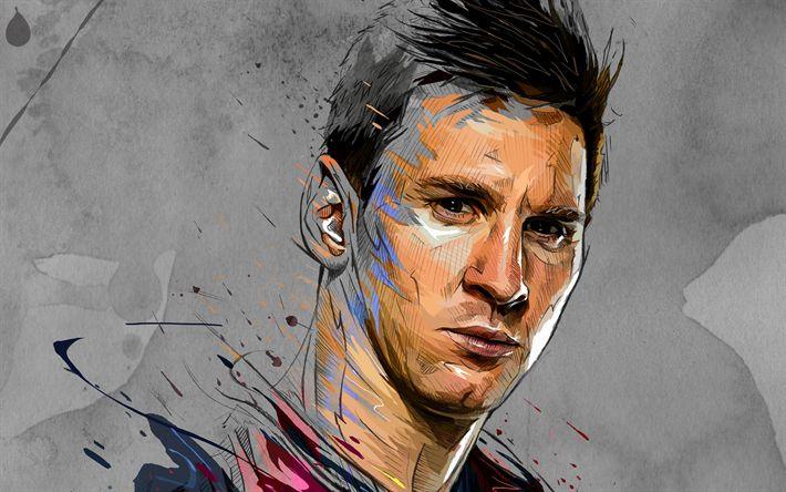 Download wallpapers Messi, art, football stars, Lionel Messi, FC Barcelona, footballers, FCB, soccer, Leo Messi #futbolmessi