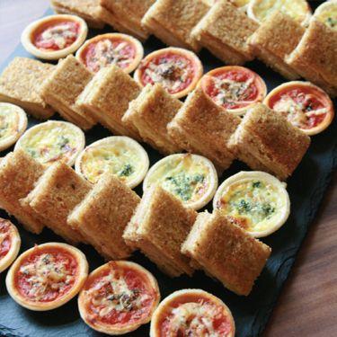 Gourmet sandwiches and mini quiches
