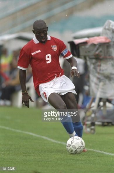 George Weah of Liberia in action during the African Nations Cup match against Zaire at the FNB Stadium in Johannesburg South Africa Mandatory Credit...