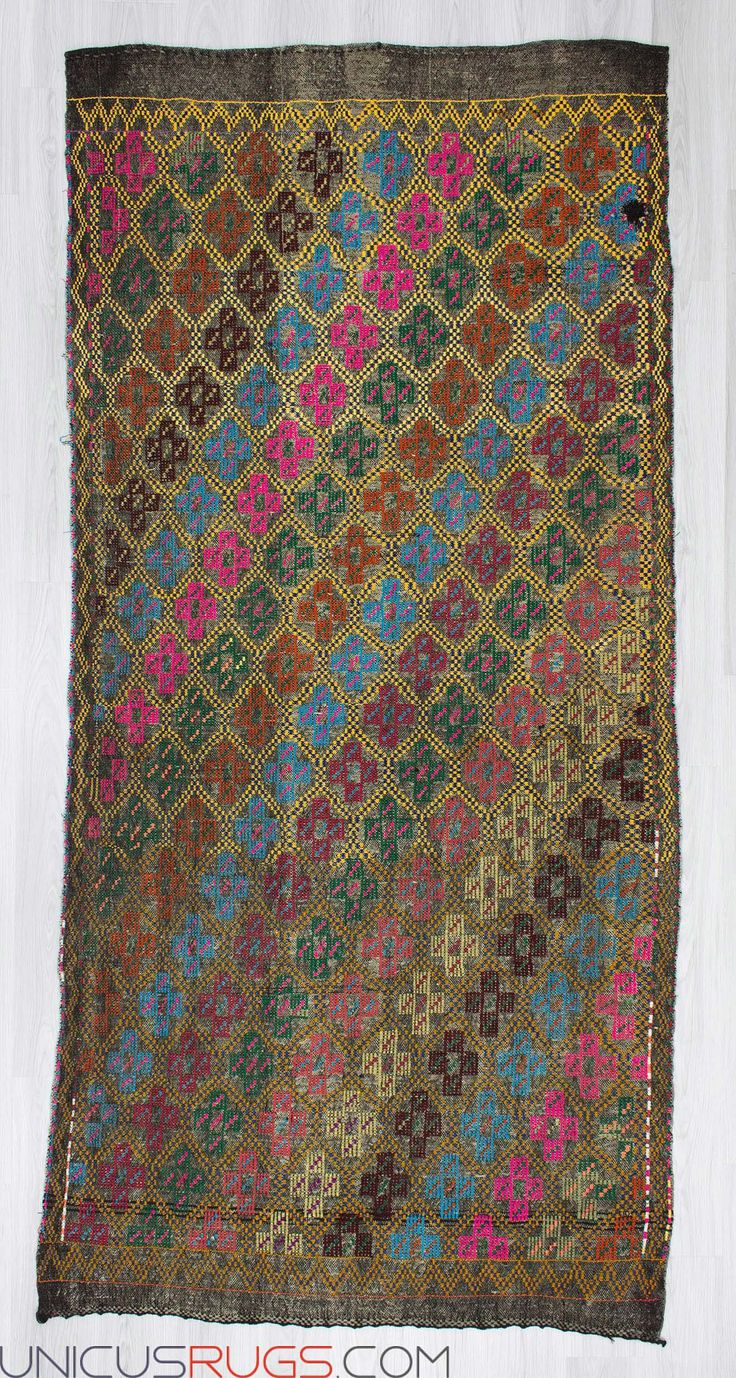 """Vintage handwoven embroidered kilim rug from Denizli region of Turkey. In good condition. Approximately 45-55 years old. Width: 4' 10"""" - Length: 10' 2"""" Embroidered Kilims"""