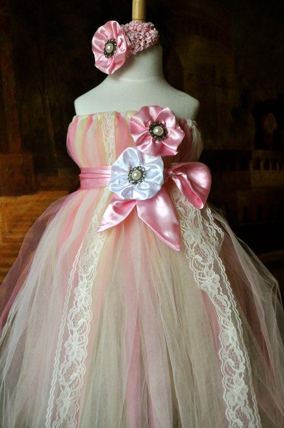 young lady ribbon light pink handmade princess tutu dress matching hair-bow headband custom order newborn to 7T. $39.95, via Etsy.