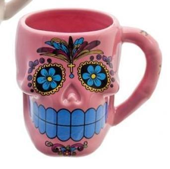 £4.95 Pink Flower Sugar/Candy Skull DAY OF THE DEAD mug/cup. Rockabilly, Goth, Emo