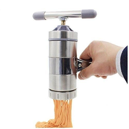 Virtuous DIY Stainless Steel Noodle Press/Pasta Maker with 5 Noodle Mould Silver