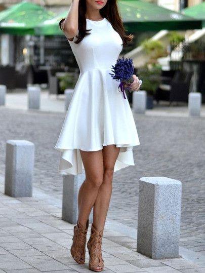 White Sleeveless Asymmetric Hem Flare Dress