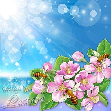PSD исходник - Яблони в цвету весны творенье