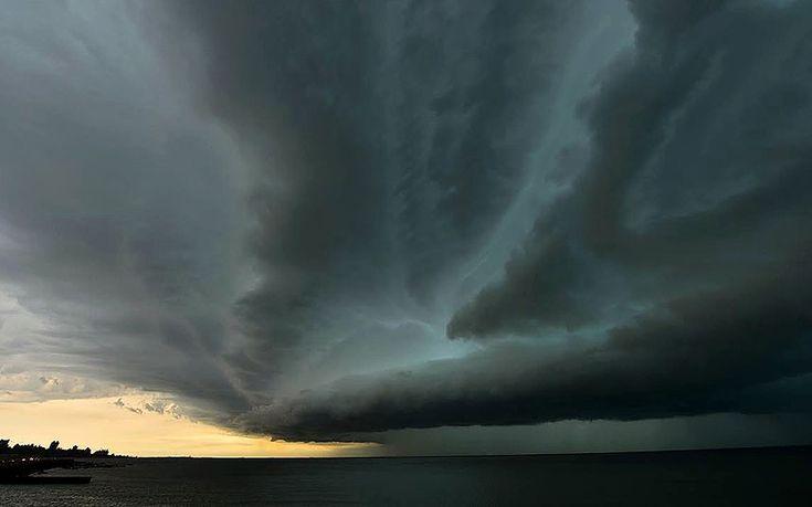 Dark clouds approach Montevideo in Uruguay from the Rio de la Plata