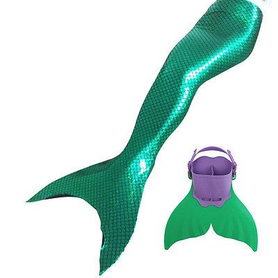 Kids Monofin Girls Swimming Mermaid Tail Mono Fin Filppers Swimmable Costume