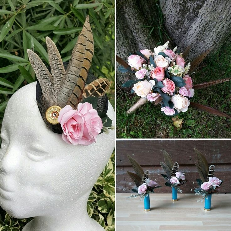 beautiful pheasant feather, shotgun cartridge and flower hair fascinator, bouquet and buttonhole set. from http://countrycraftybits.co.uk/