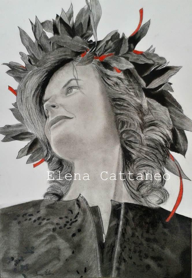 Ritratto realizzato con carboncino nero e rosso. (33 x 48)