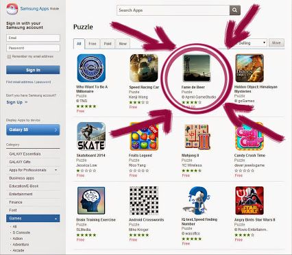 'Fanie de Beer' has moved up from number 30 in the Samsung Apps puzzle game category to number 23. :D