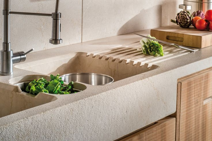 HABITO by Giuseppe Rivadossi wood kitchen: detail of the hammered and brushed Botticino marble countertop. #madeinitaly
