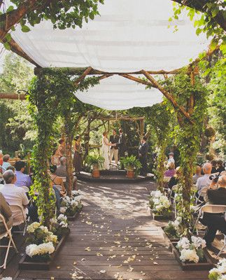 we are likely to need a covering as the ceremony is outside and hopefully ivy could be around the poles to make it a little prettier with some odd flowers attached!!