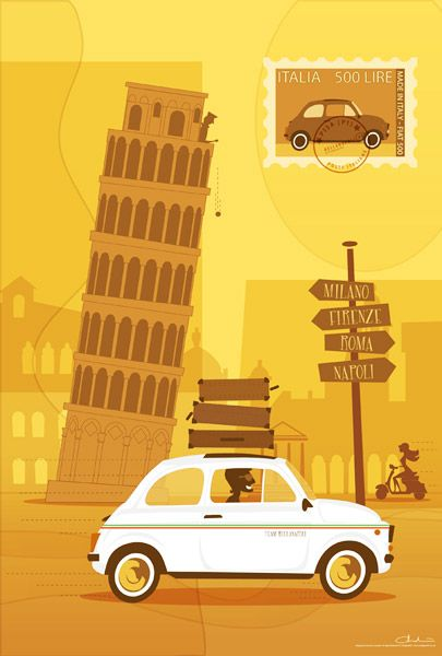 Retro Illustration - #Pisa Tower and 500 Fiat Car   Cool Graphic