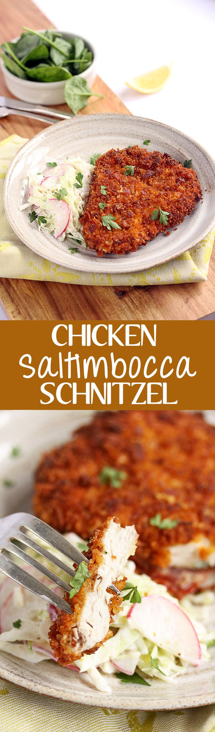 This perfect schnitzel recipe can be an enigma but here it is in all it's glory. Chicken Saltimbocca Schnitzel by Sugar Salt Magic via @sugarsaltmagic