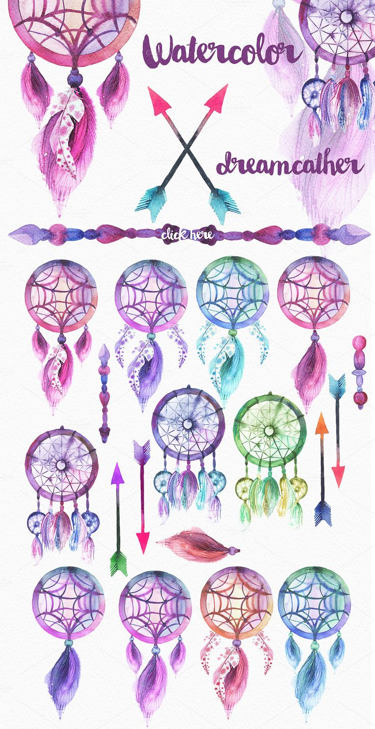 Watercolor feathers & dreamcatchers by Spasibenko Art on Creative Market