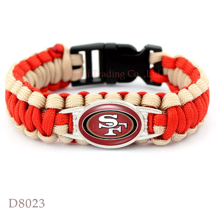 (10 Pieces/Lot) San Francisco Football Team 49ers Paracord Survival Friendship Outdoor Camping Sports Bracelet Red Gold Cord