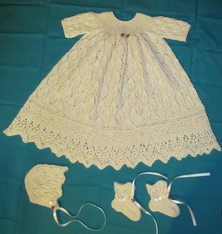 Free Knitting Pattern Baby Christening Gown : Foliage Lace Christening Gown Lace, Knitting and Christening