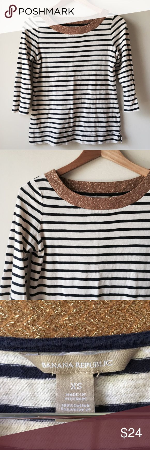 Banana Republic gold boat neck top Navy and cream stripe top wth shimmery gold boat neck cut.  100% cotton, soft t-shirt material. 3/4 sleeve. Women's size XS.  Gently worn but in excellent condition, no damage. Banana Republic Tops Tees - Long Sleeve