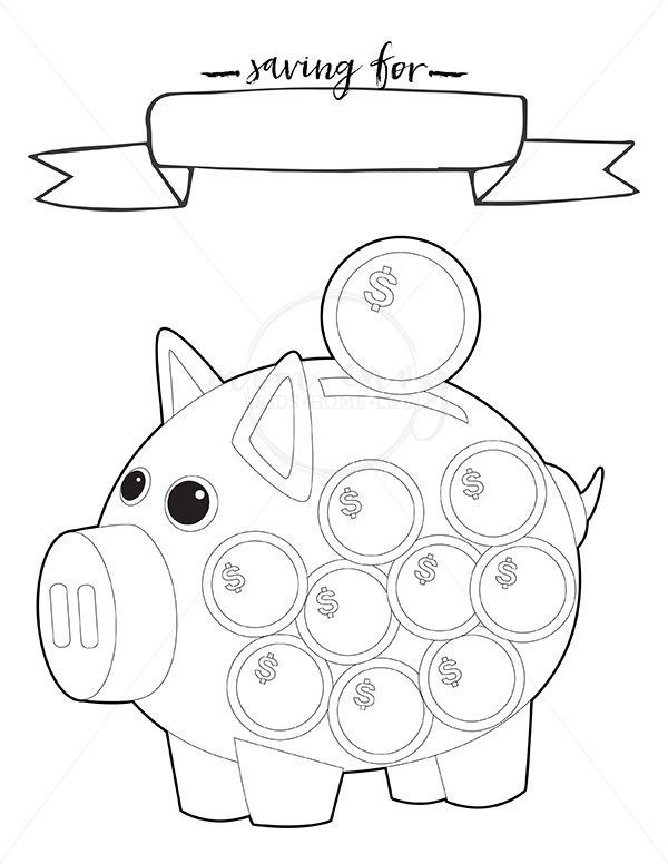 Online Printable Coloring Sheet Of Piggy Bank
