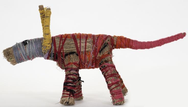 Tjanpi Desert Weavers, Tjanpi papa uwankara (Big mob of tjanpi dogs), 2007, mixed media, variable dimensions (x 30). Purchased 2008, MAGNT Acquisition Fund. 24th Telstra National Aboriginal & Torres Strait Islander Art Award