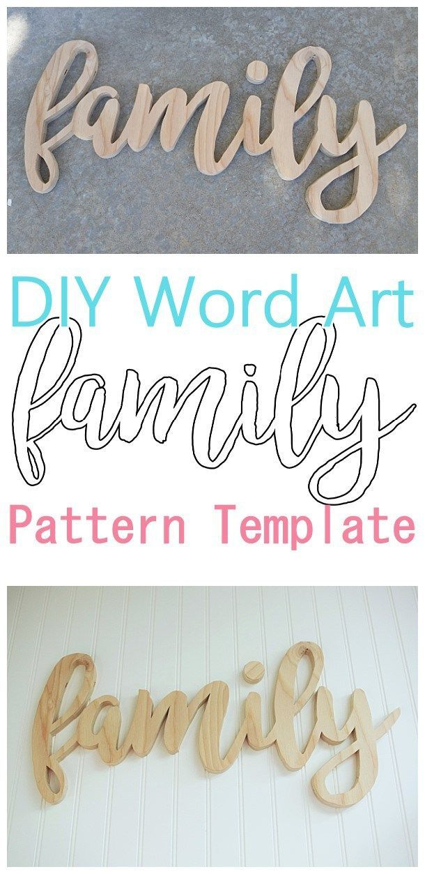 DIY Word Art Woodworking FREE Template Beginner Friendly scroll saw woodworking pattern to create your own custom Do it Yourself Family Wall Decoration - Perfect for a Gallery Wall