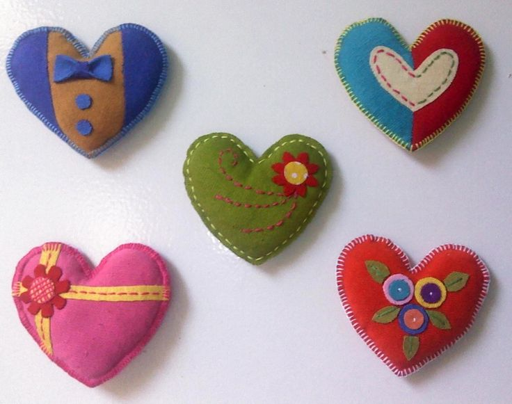 Fabric brooch heart by olip pia handmade