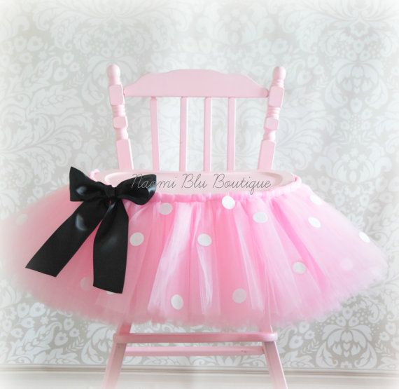 Inspired by Minnie Mouse High Chair Tutu in Pink by NaomiBlu