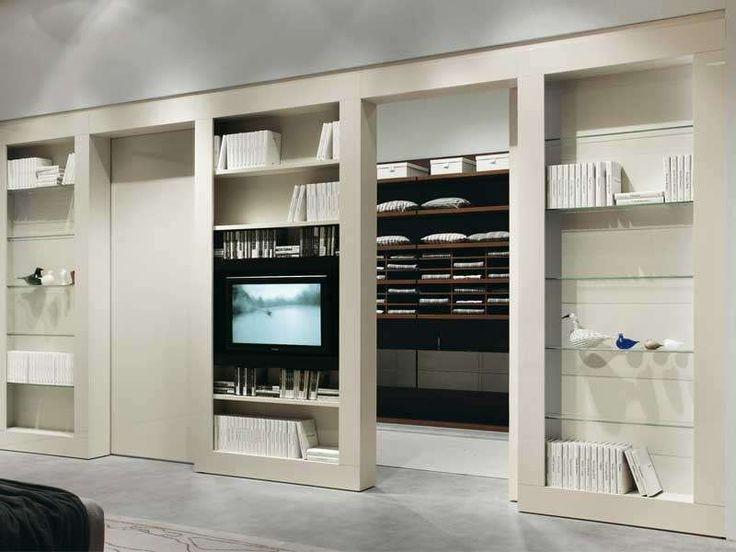Idee pareti soggiorno in cartongesso - Parete con porte scorrevoli in cartongesso