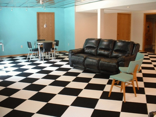 Tennessee Vols Man Cave Ideas : Checkerboard carpet black and white tiles man