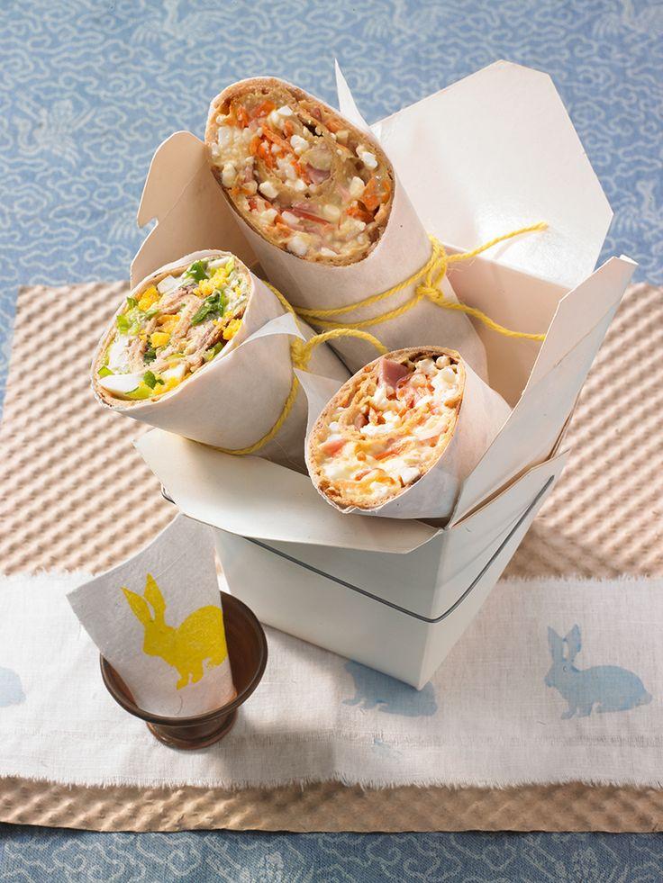 Hefe-Pfannkuchen aus Roggen- und Weizenvollkornmehl mit Käse-Schinken- und Räucherfisch-Füllung