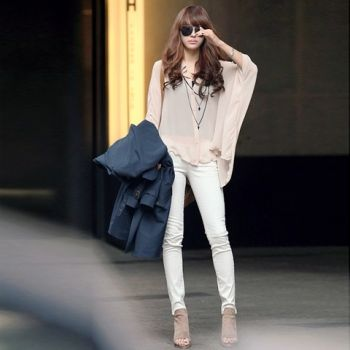 Gamiss® Charming and Perspective Asymmetrical Hem Bat Sleeve Chiffon Shirt For Women (BEIGE,ONE SIZE) At Price 9.49 - DressLily.com