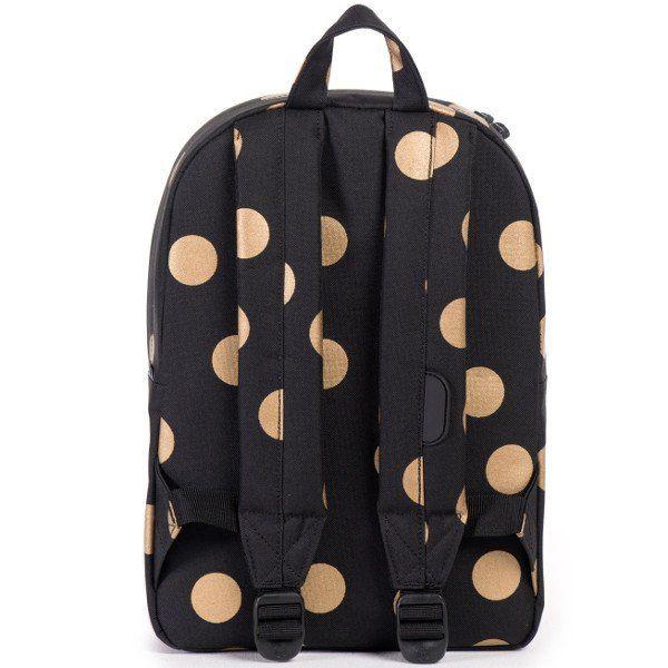 Herschel Heritage Kids Backpack, Gold Polka Dots