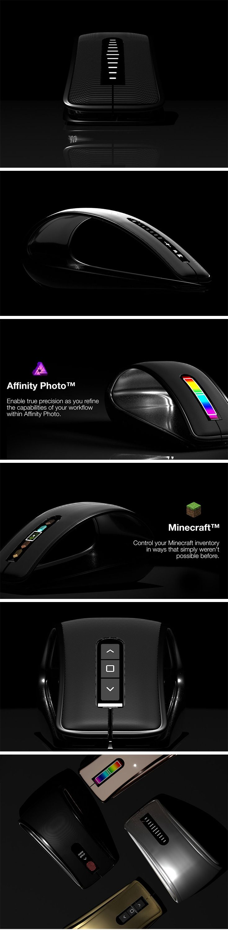 Those who aim for productivity will appreciate the Volatas mouse. Located directly on the wireless mouse's large surface, there is a scrolling screen that allows for contextual shortcuts in a variety of applications. Resizing, highlighting, switching between tools, you name it!