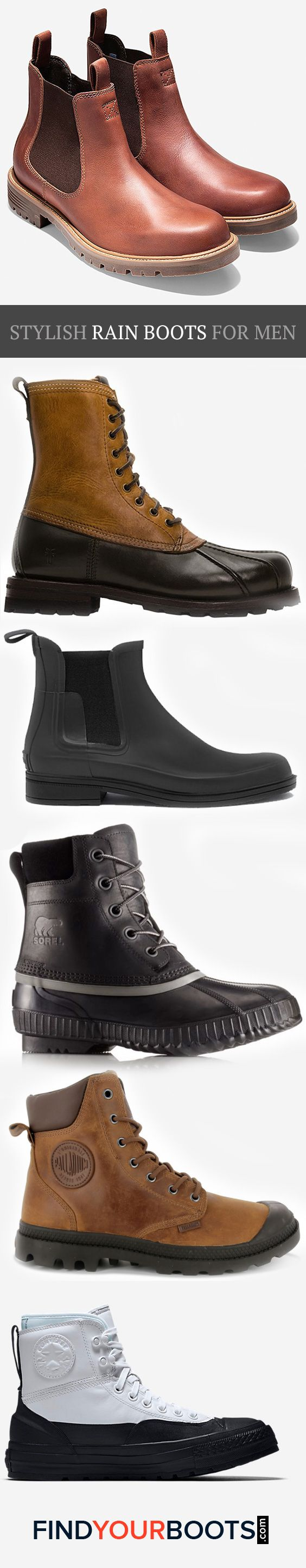 Ditch the rubber boots and upgrade to these cool rain boots for men that are as stylish as they are functional.