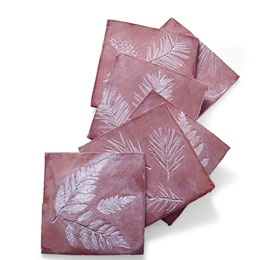 Leaf-Imprinted Coasters: self-hardening clay and leaves