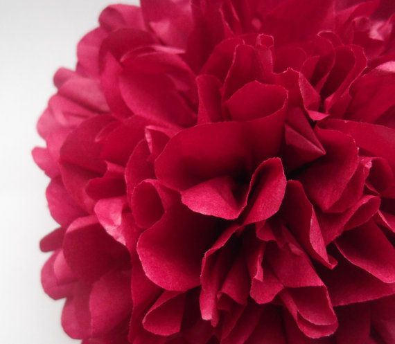 1 Bordo Tissue Paper Pom Pom  Wedding Decoration  by PaperPomPoms