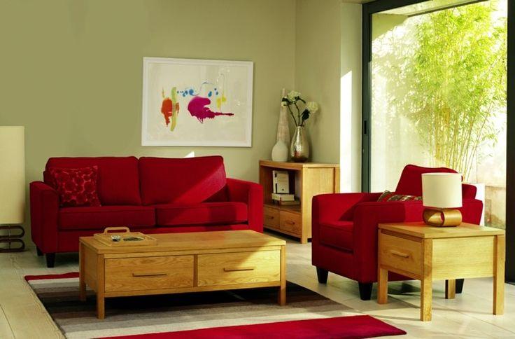 diseño de salón de color verde claro y rojo
