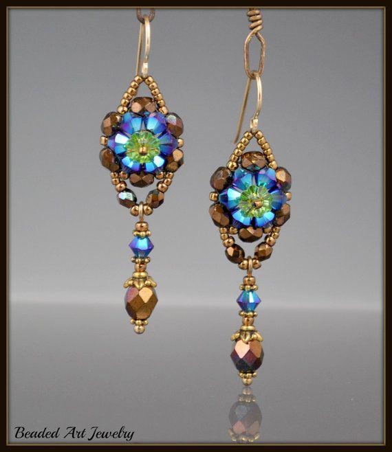 Perline, Beadwoven, bigiotteria, orecchini fiore di cristallo