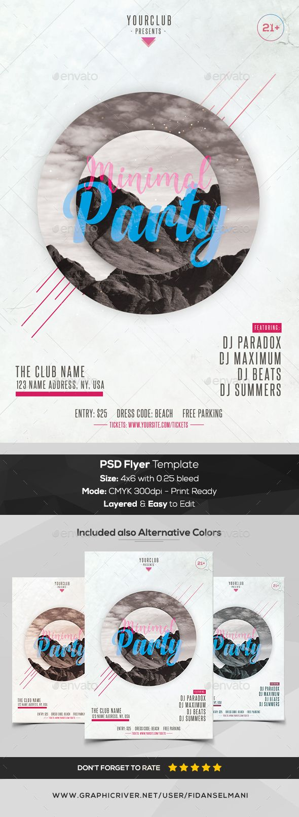 Minimal #Party - PSD #Flyer Template - Flyers Print Templates Download here:  https://graphicriver.net/item/minimal-party-psd-flyer-template/20295714?ref=alena994