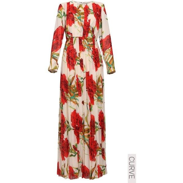 OCCASION CURVE Gloriana Box Pleat Maxi Dress Cream Floral ($39) ❤ liked on Polyvore featuring dresses, cream floral dress, maxi length dresses, floral pattern dress, floral print maxi dress and floral dresses
