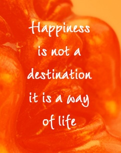 Happiness is not a destination, it is a way of life.