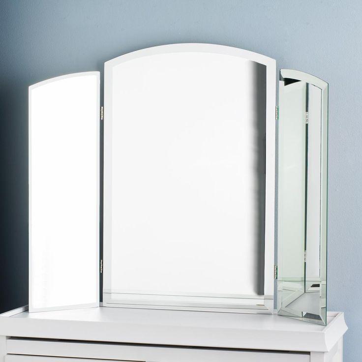tri fold vanity beveled mirror