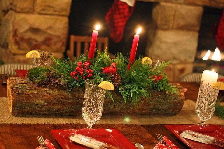Rustikale Tischdeko Idee - Kerzen in Baumstamm-Halter