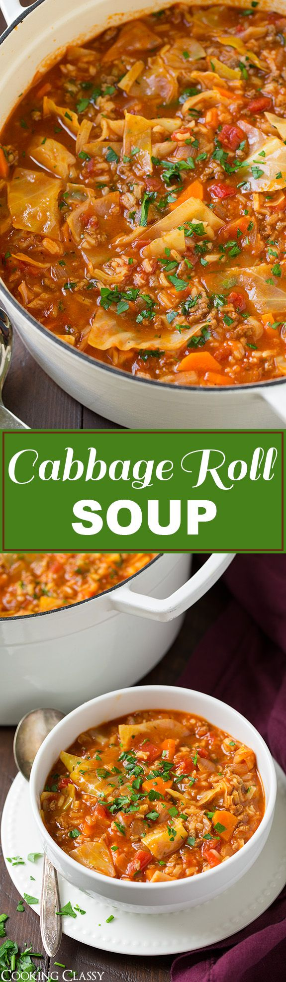 Cabbage Roll Soup - so much easier than stuffing cabbage rolls! This soup is so hearty and filling and totally delicious! Will definitely make this again this fall!