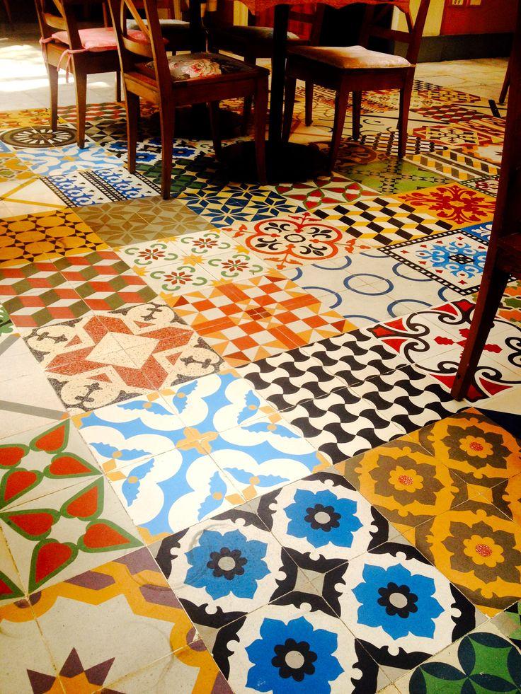 Beautiful tiled floor of enab a lebanese restaurant in