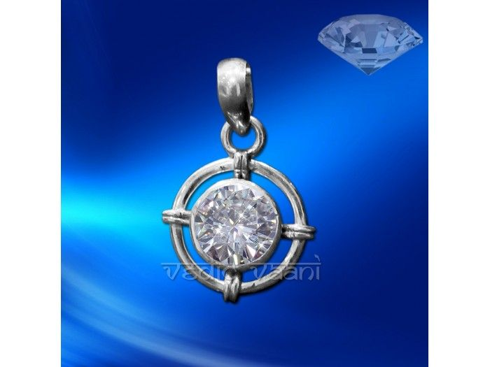 White Zircon Locket in Sterling Silver buy online from India to vedicvaani.com . White Zircon made in sterling silver locket.  Zircon is a widely known gemstone which is often used as a substitute for diamond. It is a beautiful gemstone and is available in a number of colors. Legend tells us that it is used to increase intelligence and creativity, impart wisdom which will in turn lead to wealth.