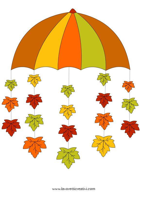 Pendente con ombrello e foglie da realizzare con i cartoncini colorati da attaccare sulle finestre o sulle pareti della classe nel periodo autunnale. Non dimentichiamo però anche la casa; i bambini...
