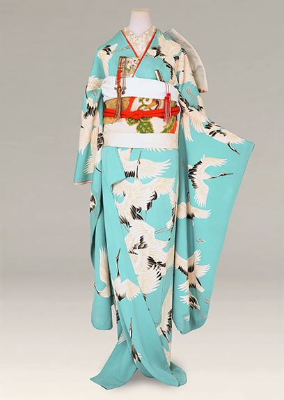 Beautiful Blue Flying Crane Furisode