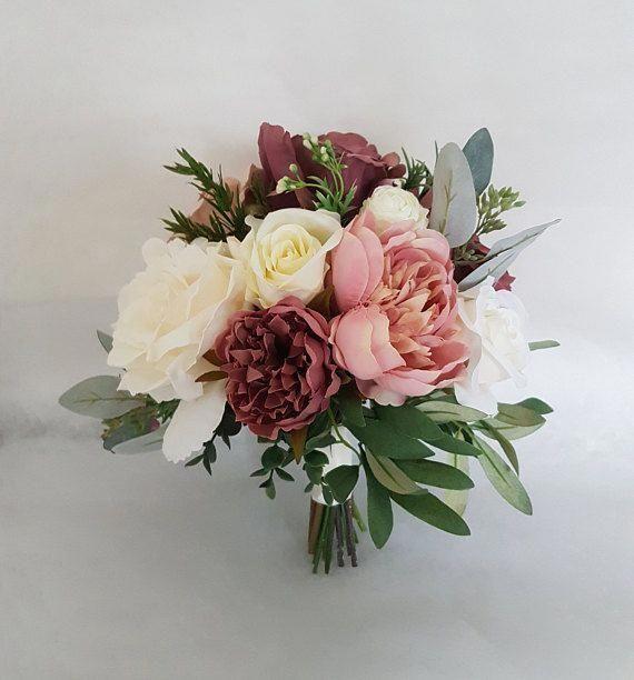 Vintage Dusky Pink Ivory Blush Silk Wedding Bouquet Dusky Pink Bridal Bouquet Silk Wed Bridal Bouquet Flowers Bridal Bouquet Pink Artificial Wedding Bouquets