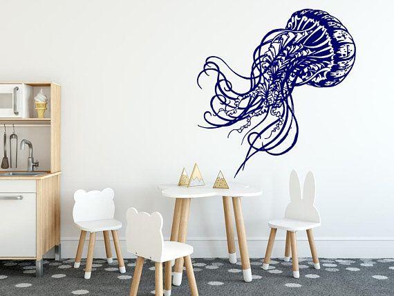 Jellyfish Wall Decals Jellyfish Nursery Decals Jellyfish Etsy Kids Room Wall Decor Jellyfish Wall Art Nursery Decals
